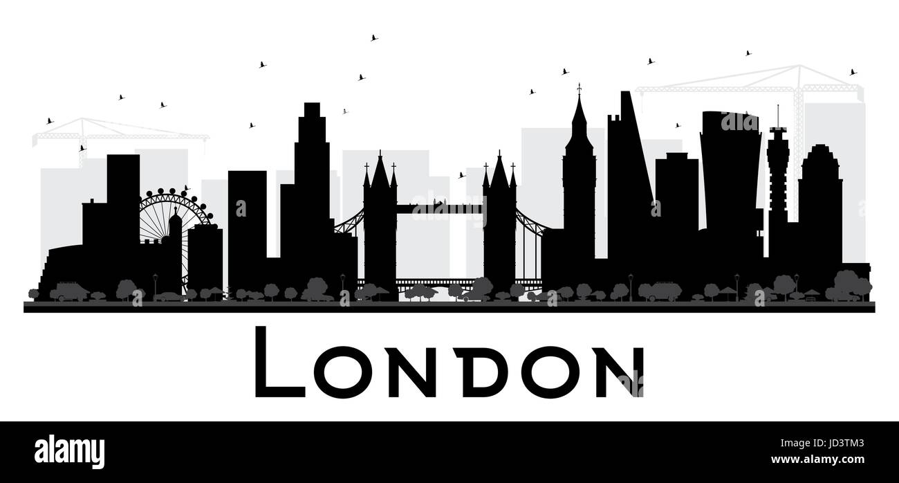London City Skyline Black And White Silhouette Simple Flat Concept For Tourism Presentation Banner Placard Or Web Site Cityscape With Landmarks