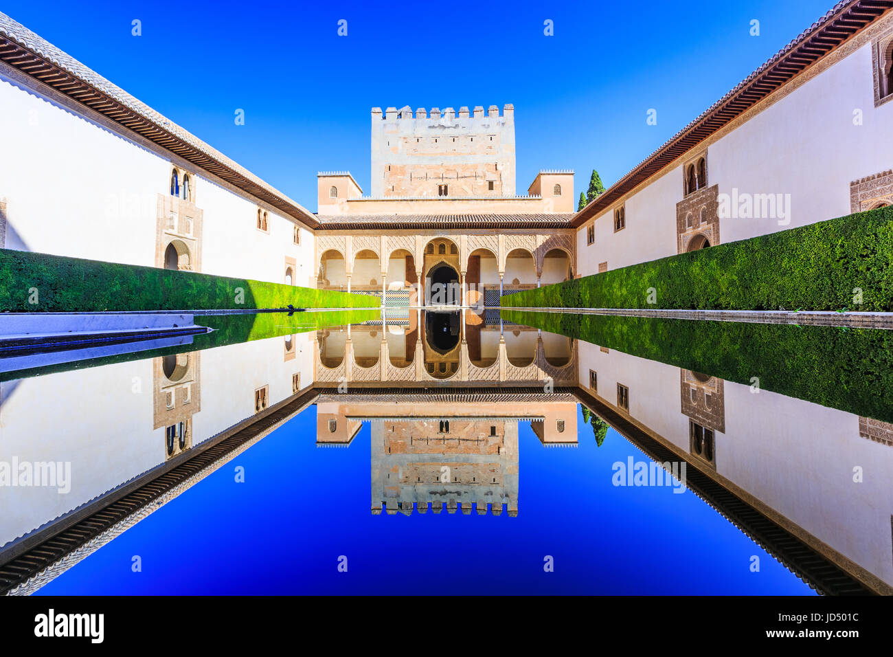 Alhambra of Granada, Spain. The Nasrid Palaces (Palacios Nazaraies) in the Alhambra fortress. - Stock Image