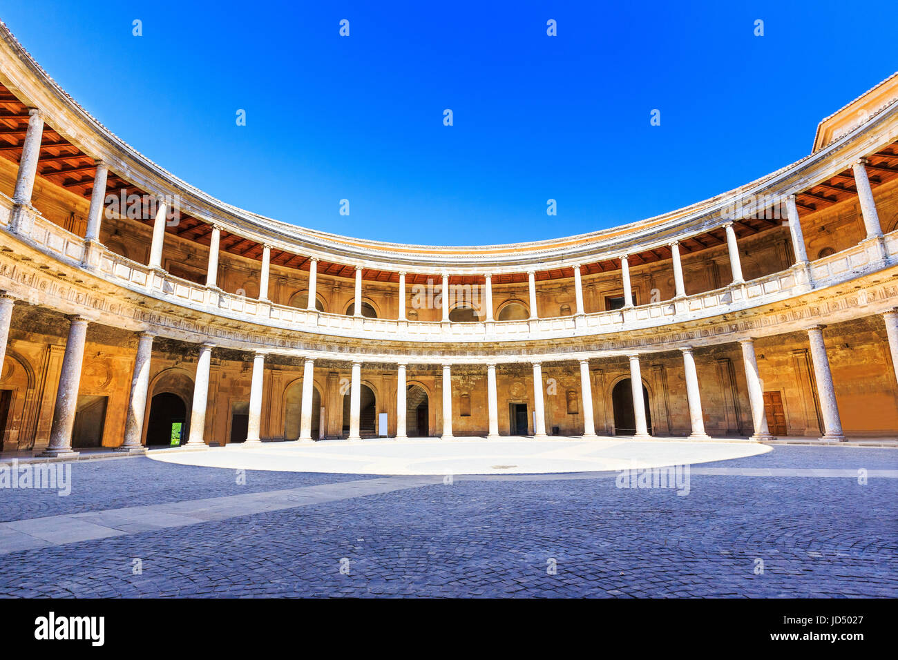 Alhambra of Granada, Spain. Courtyard of the Palace of Charles V Stock Photo