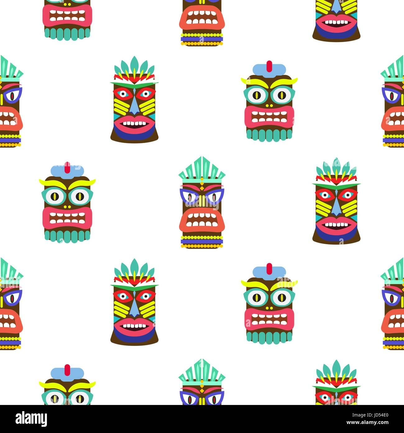 Hawaiian tiki mask seamless bright on white pattern vector. Totem symbols colorful tileable background. - Stock Vector