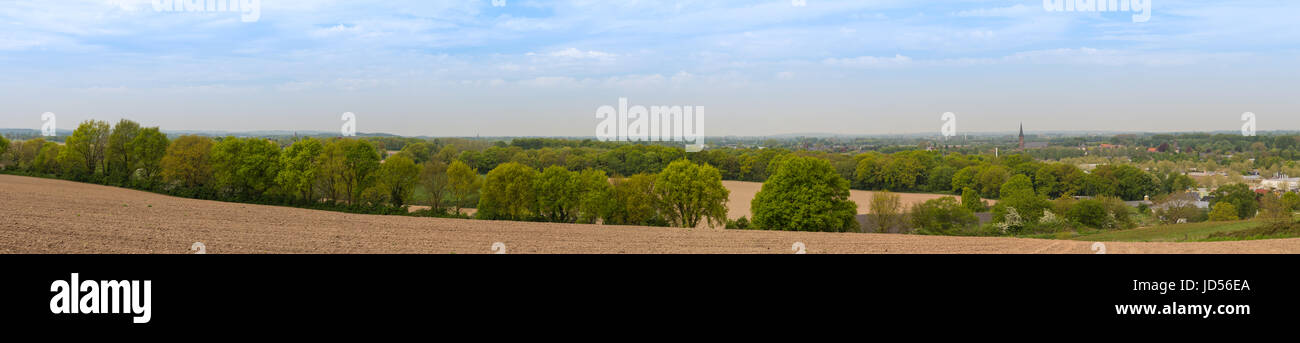 Panorama view from the Monreberg, Kalkar, Germany on a cloudy day - Stock Image