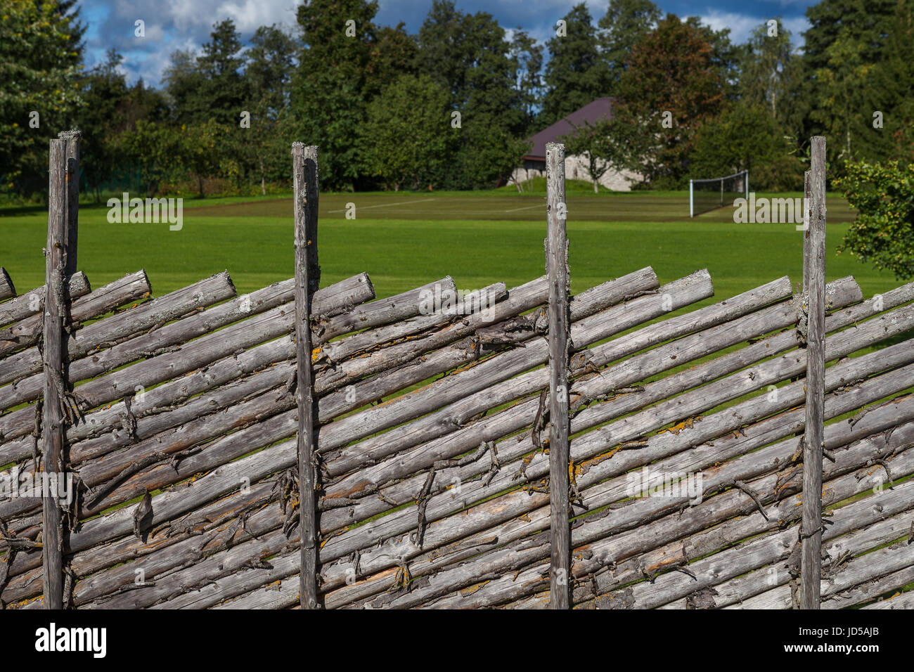 Traditional Swedish wooden fence - Stock Image