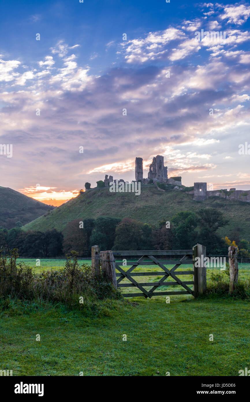 Corfe Castle Morning - Stock Image