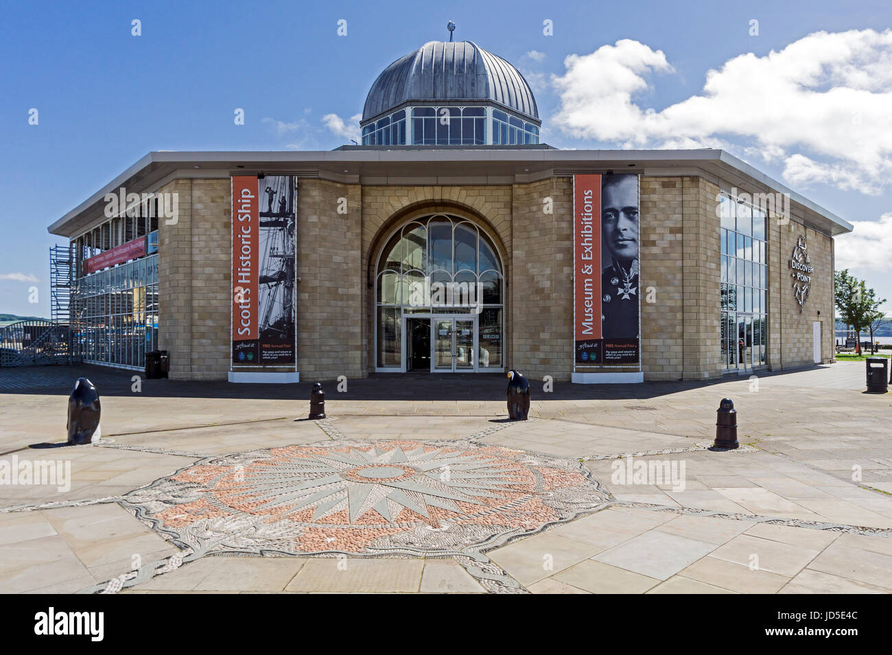 Royal Research ship Discovery Point building at the waterfront by the Firth of Forth in Dundee Tayside Scotland - Stock Image