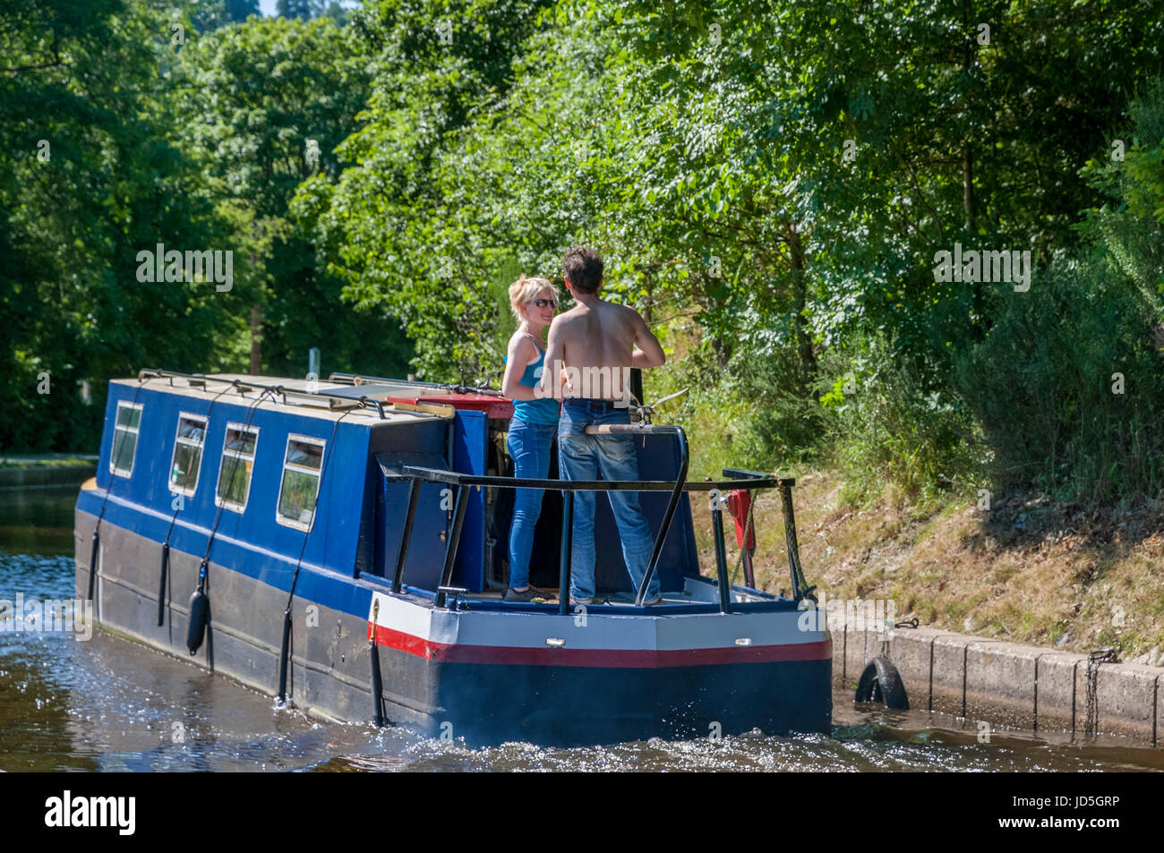 Llangollen canal narrowboat - Stock Image