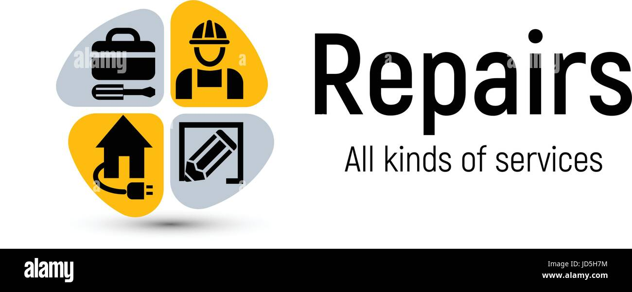 Home Repair Tools Vector Logo. House Renovation Service Icon. Building  Professional Support And Improvement Abstract 2d Illustration