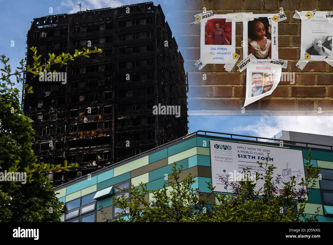 LONDON, UK - JUNE 16 2017 Grenfell tower after fire, with Kensington Aldridge Academy and missing people - Stock Image