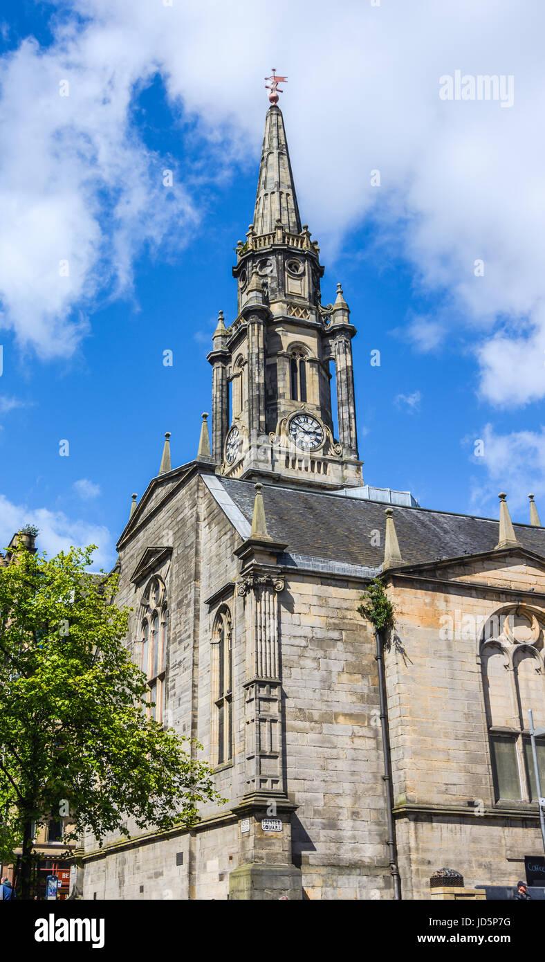 Landmark of Edinburgh, The Tron Kirk, a former principal parish church, Scotland. It was built in the 17th century Stock Photo