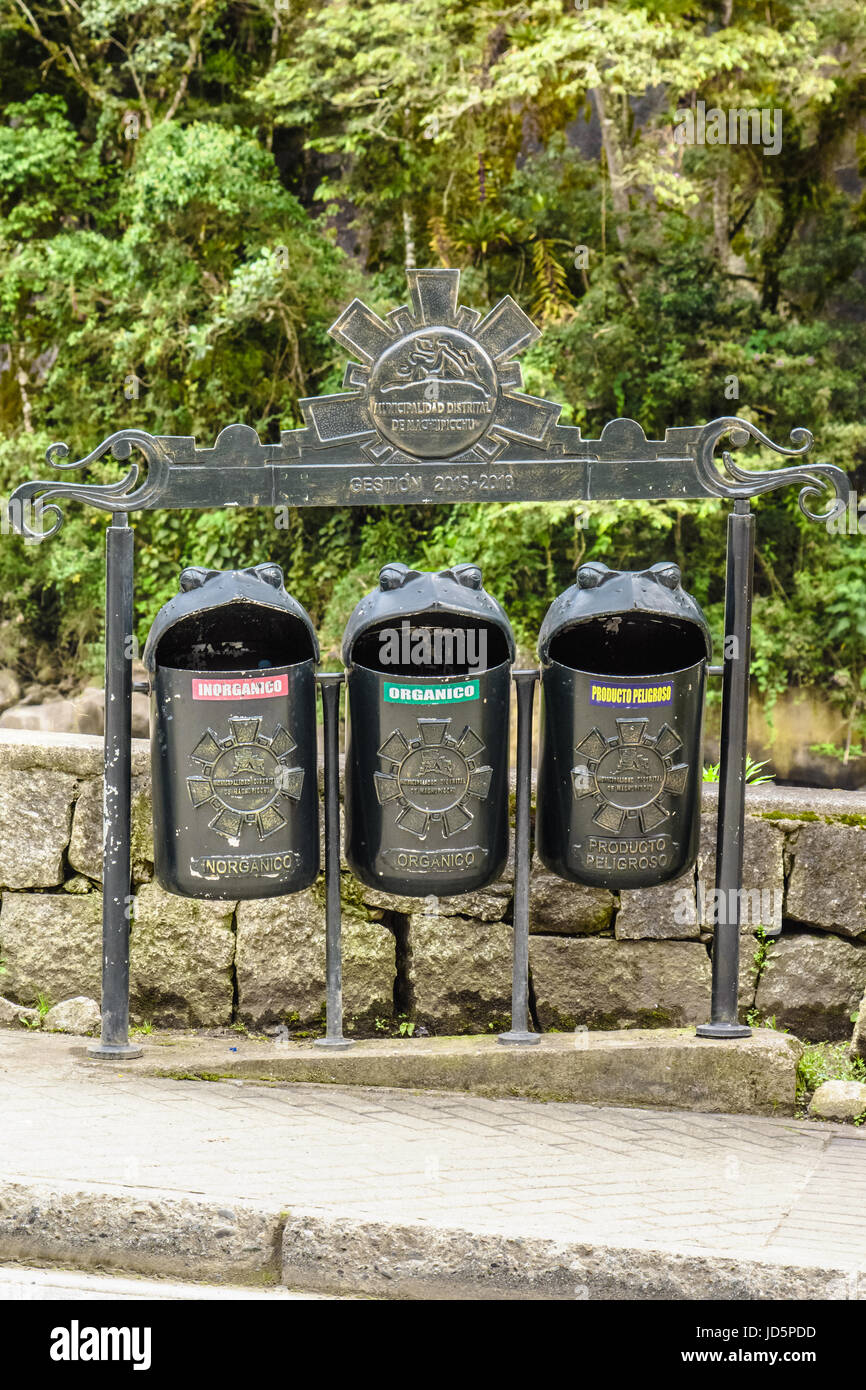 Funny shaped recycling garbage bins in Aguas calientes,Cusco, Peru Stock Photo