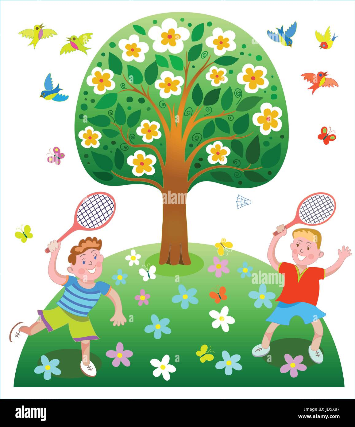 Happy children playing badminton outdoors in the summer - Stock Vector