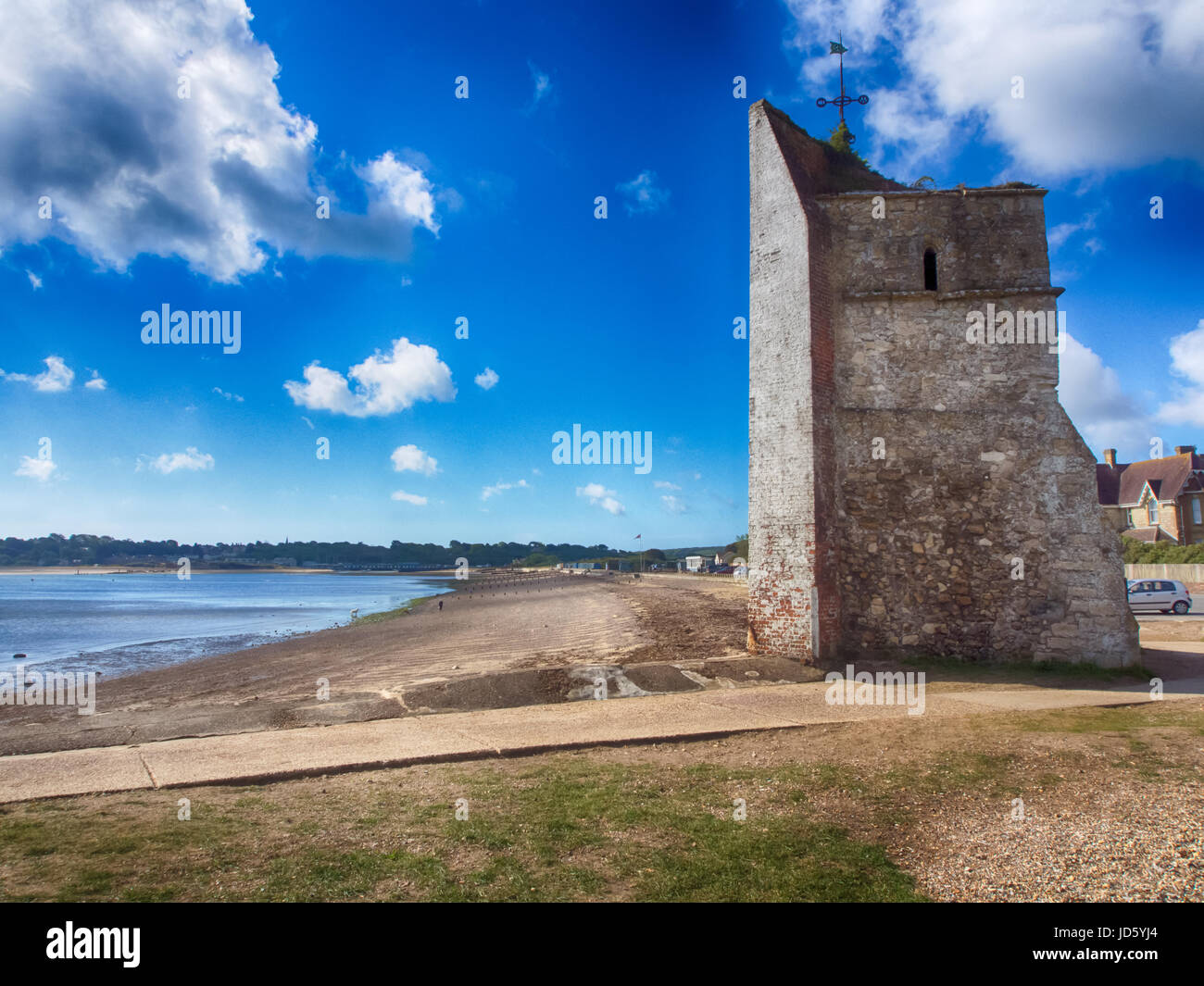 The remains of St Helen's church at St Helen's Duver, Nodes point, Isle of Wight Stock Photo