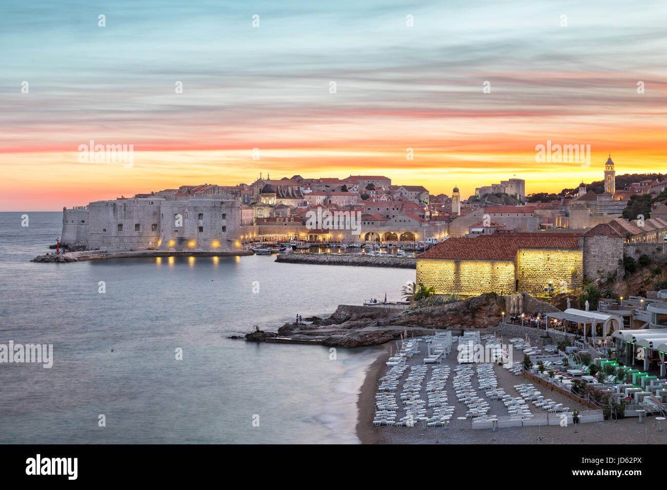 The illuminated old town in Dubrovnik in the evening, Croatia - Stock Image