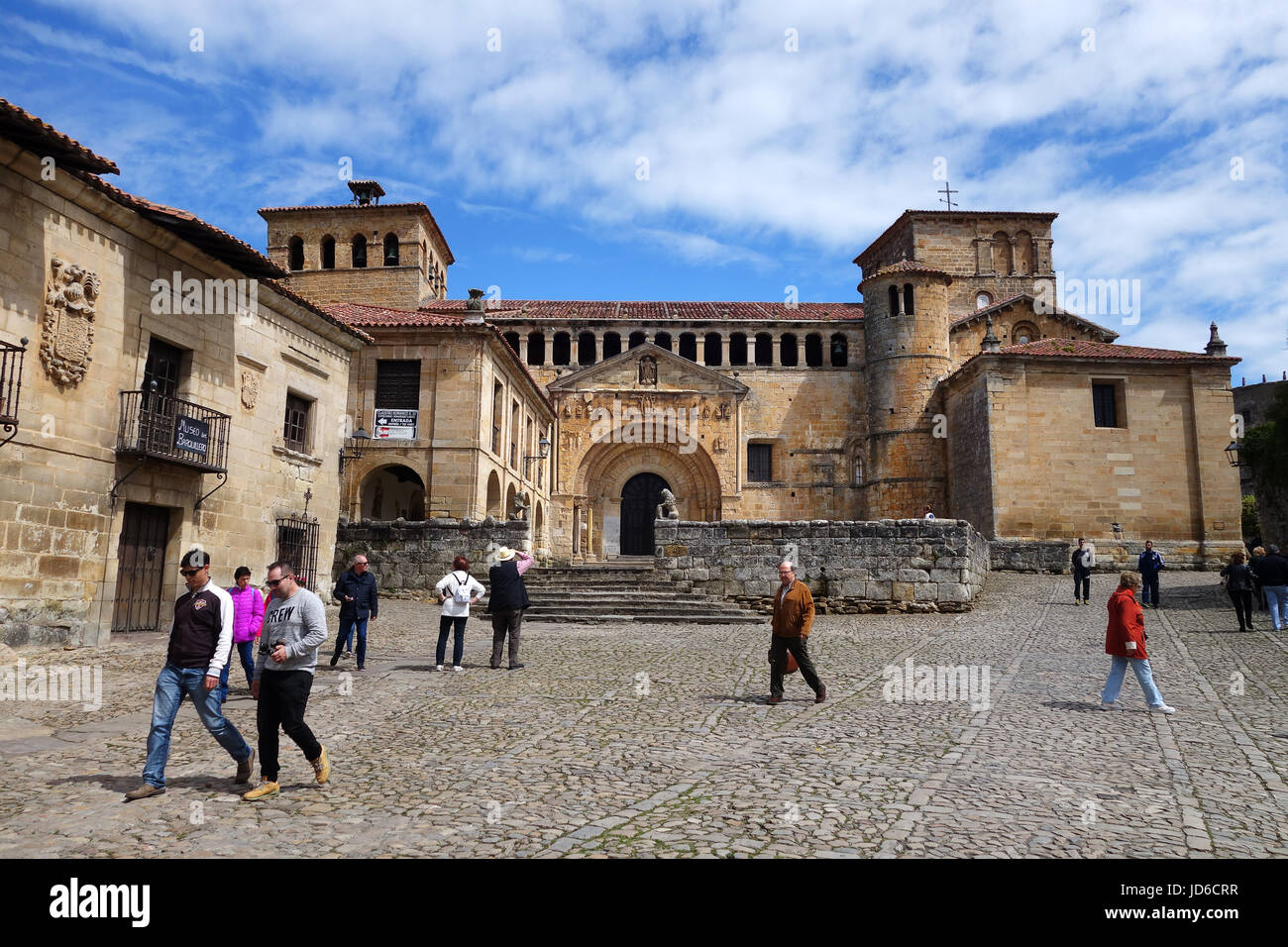 Church of the Colegiata at Santillana del Mar historic town situated in Cantabria Spain - Stock Image