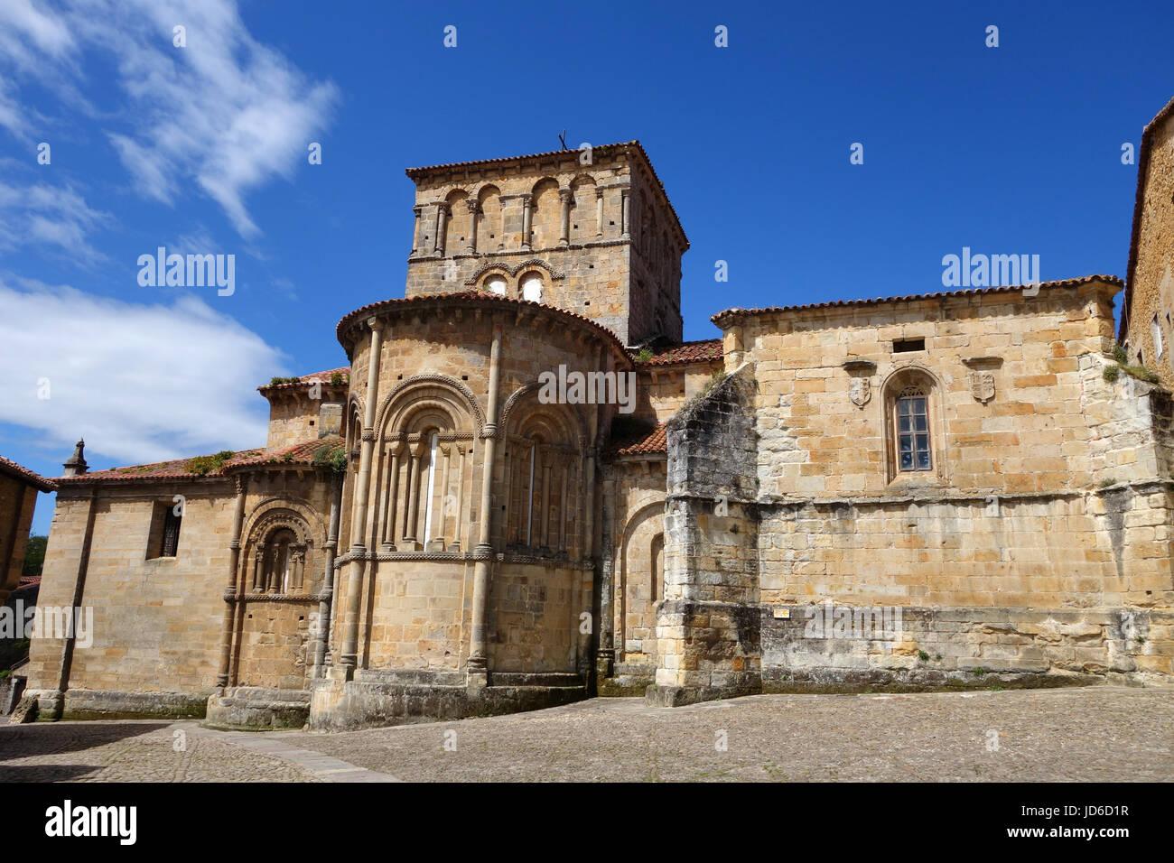 Church of the Colegiata at Santillana del Mar historic town situated in Cantabria, Spain - Stock Image