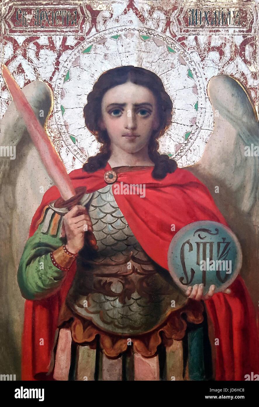 Archangel Saint Michael. Guardian of Paradise. Church iconography - Stock Image