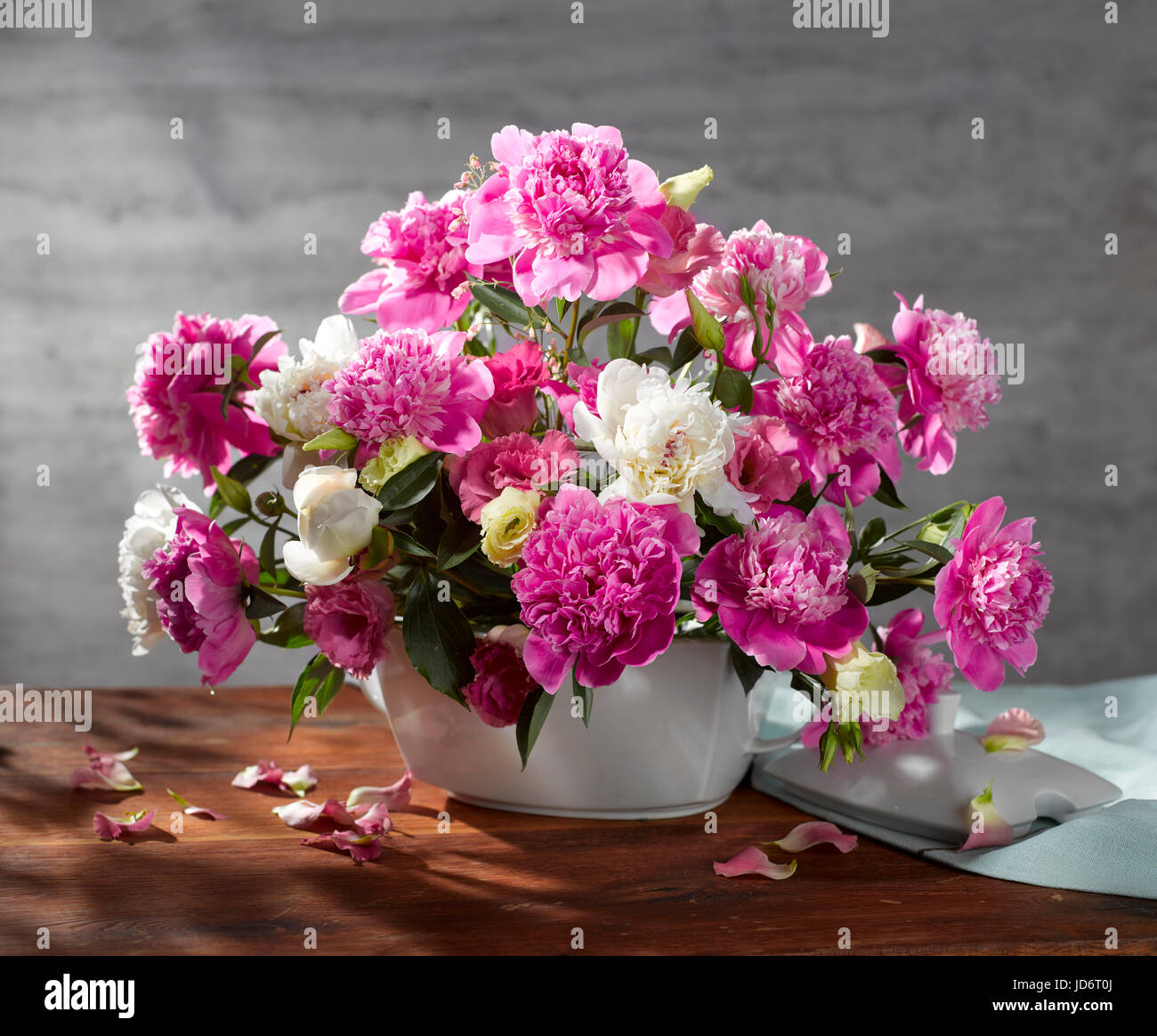 Bouquet of flowers with peonies. - Stock Image