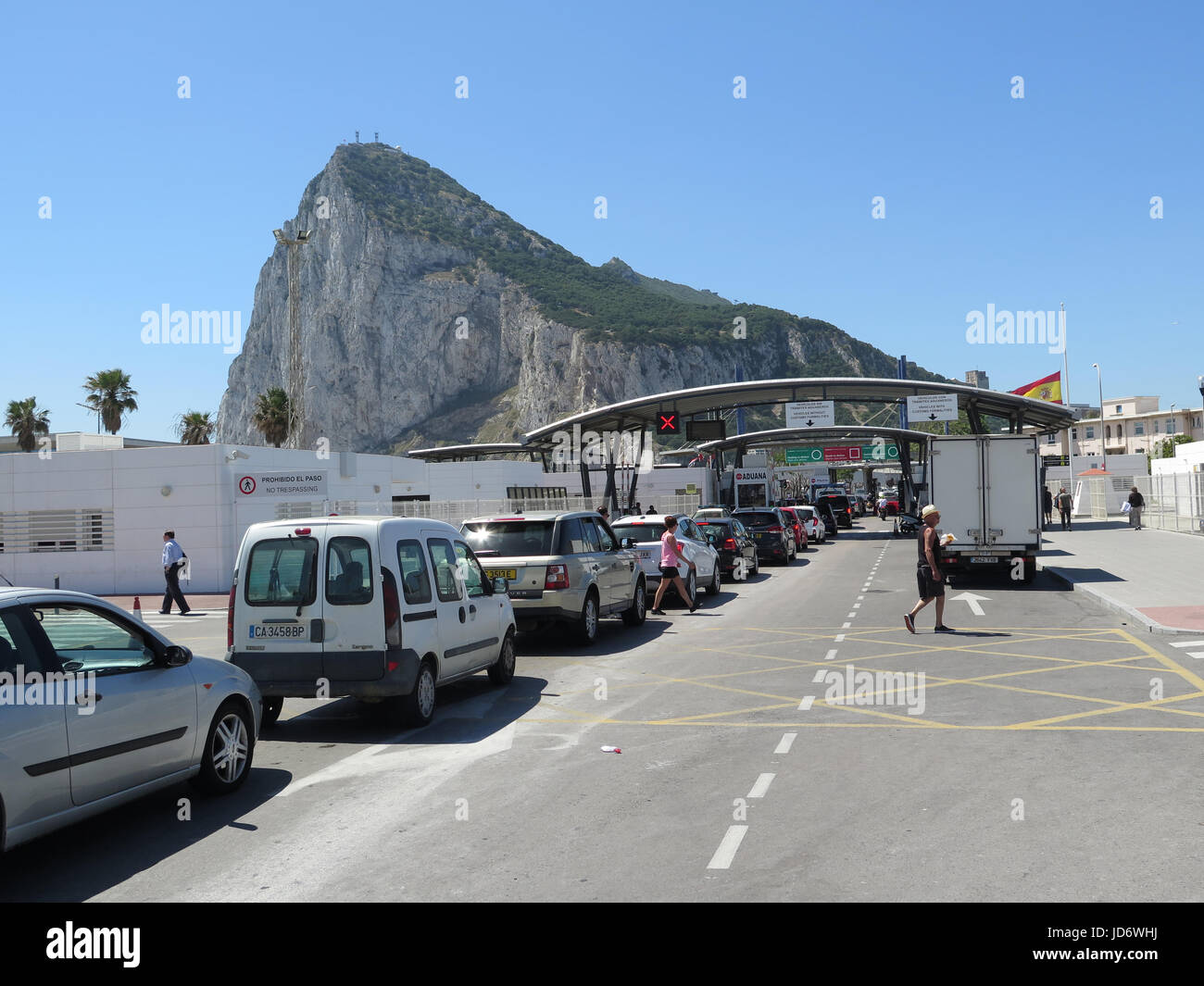 Spain border with Gibraltar Stock Photo