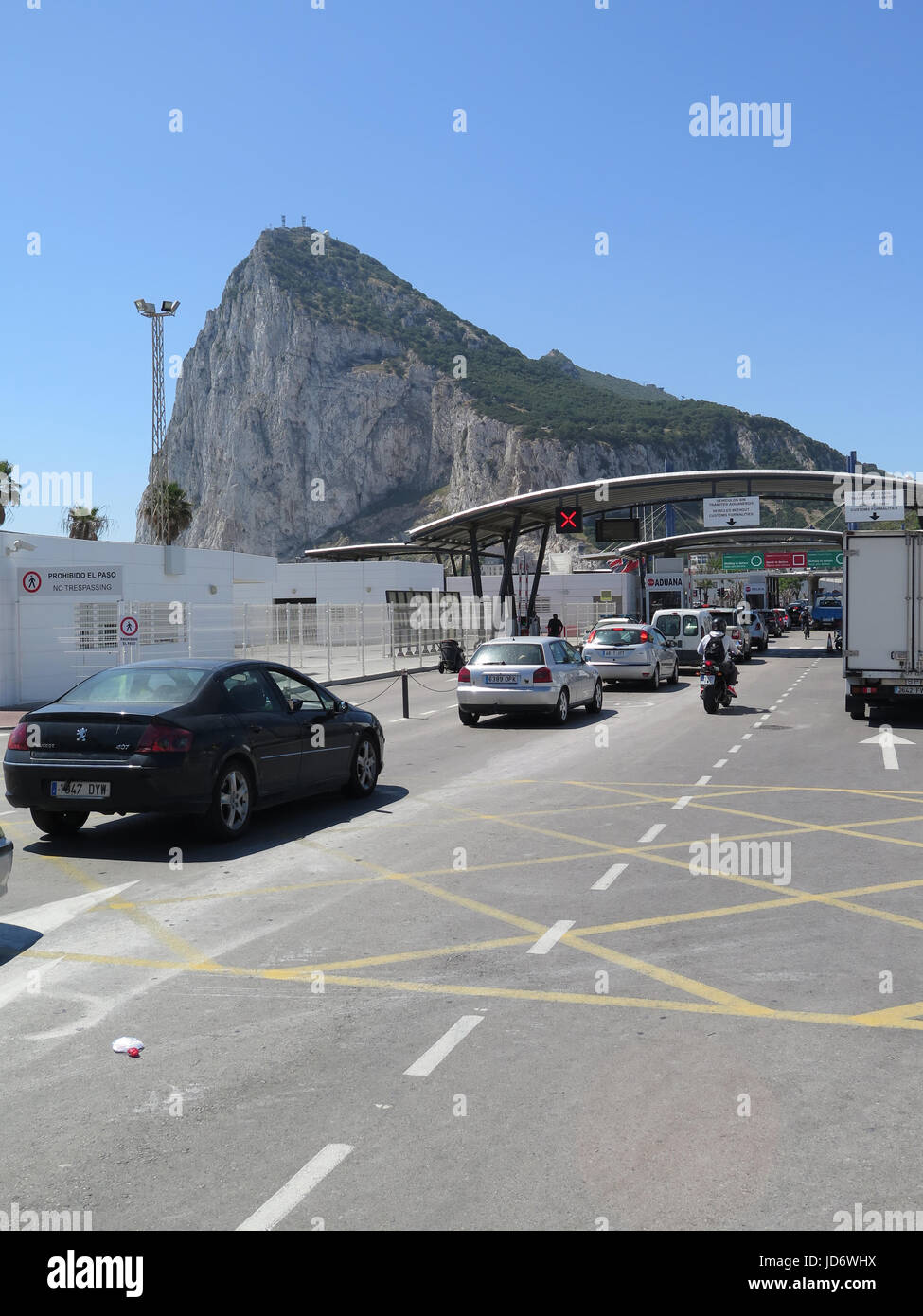 Spain border with Gibraltar Stock Photo
