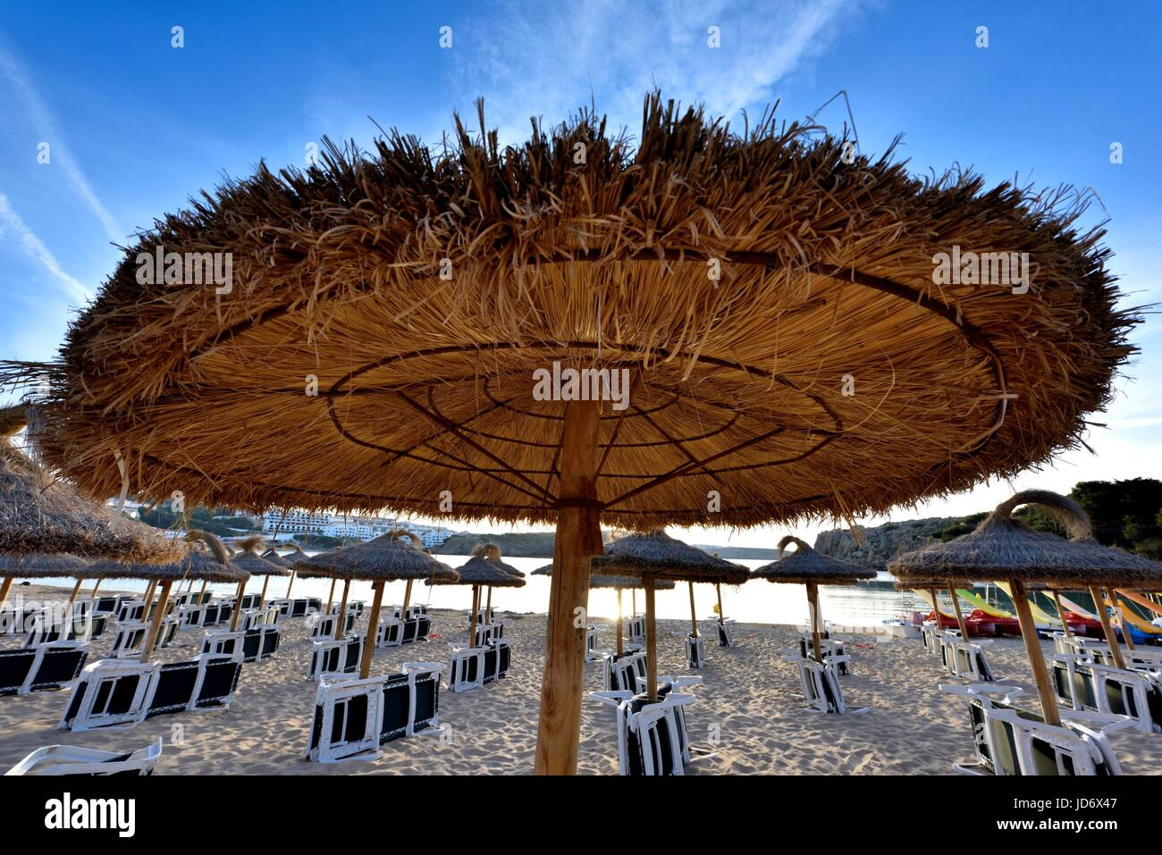 Straw parasol - Stock Image