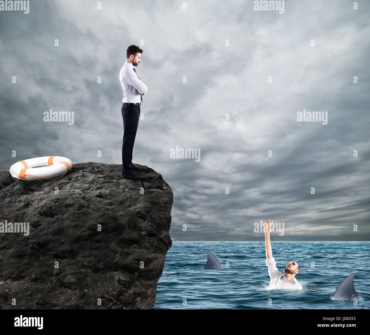 Businessman who doesn't help a competitor - Stock Image