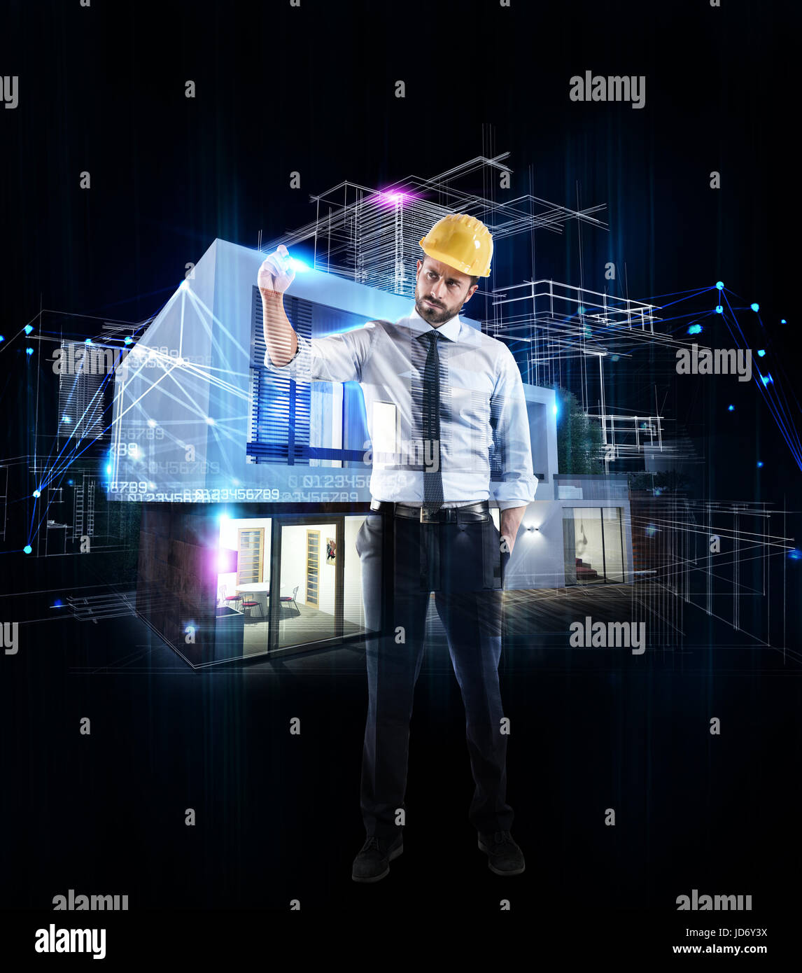 Architect businessman drawing a sketch of a modern home - Stock Image