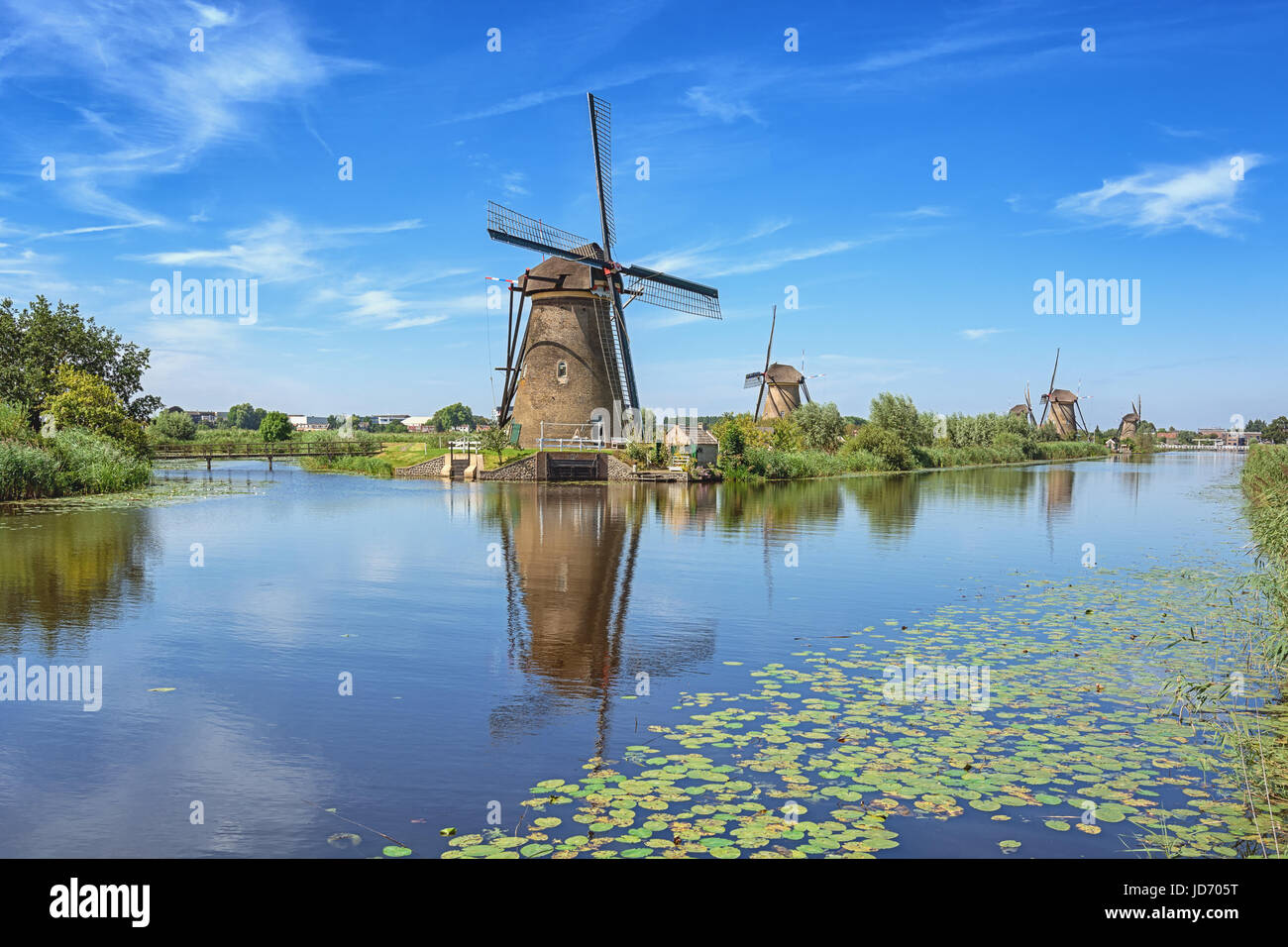 The Kinderdijk mills cover nineteen mills in the northwest of the Alblasserwaard, a polder in the province of Zuid - Stock Image