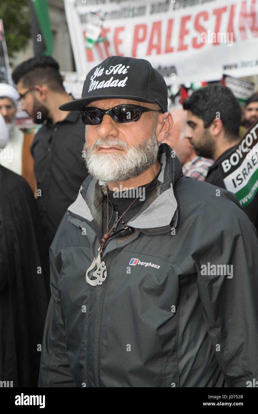 Al Quds day 2017 London, UK. 18th June, 2017. a secretary man at the start of the march Credit: Brian Southam/Alamy - Stock Image