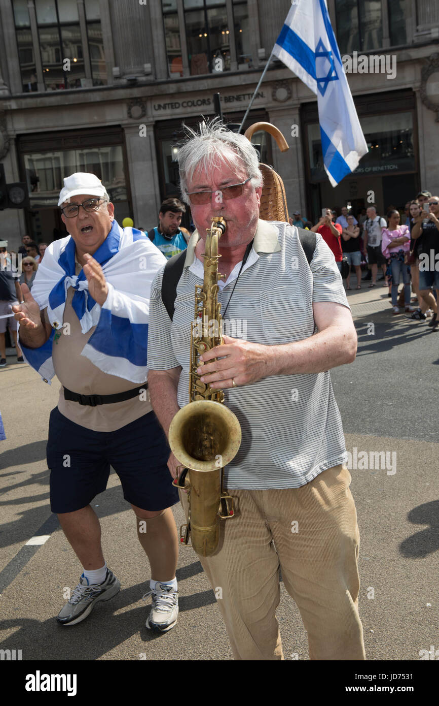 Al Quds day 2017 London, UK. 18th June, 2017. A Israel man playing the saxophone Credit: Brian Southam/Alamy Live - Stock Image