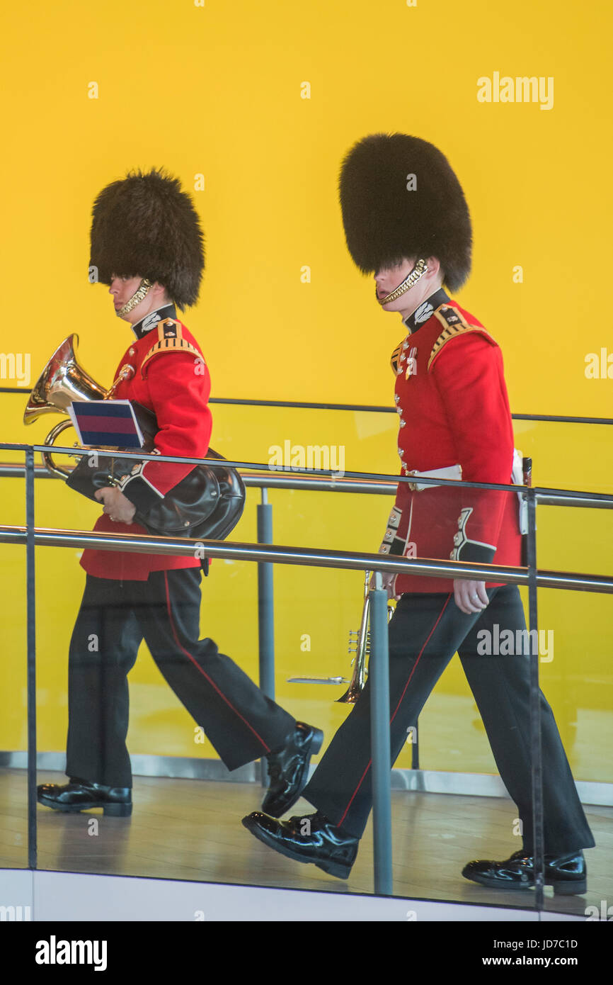 London, UK. 19th June, 2017. The Band of the Scots Guards head out of City Hall - On behalf of the Mayor Sadiq Khan - Stock Image