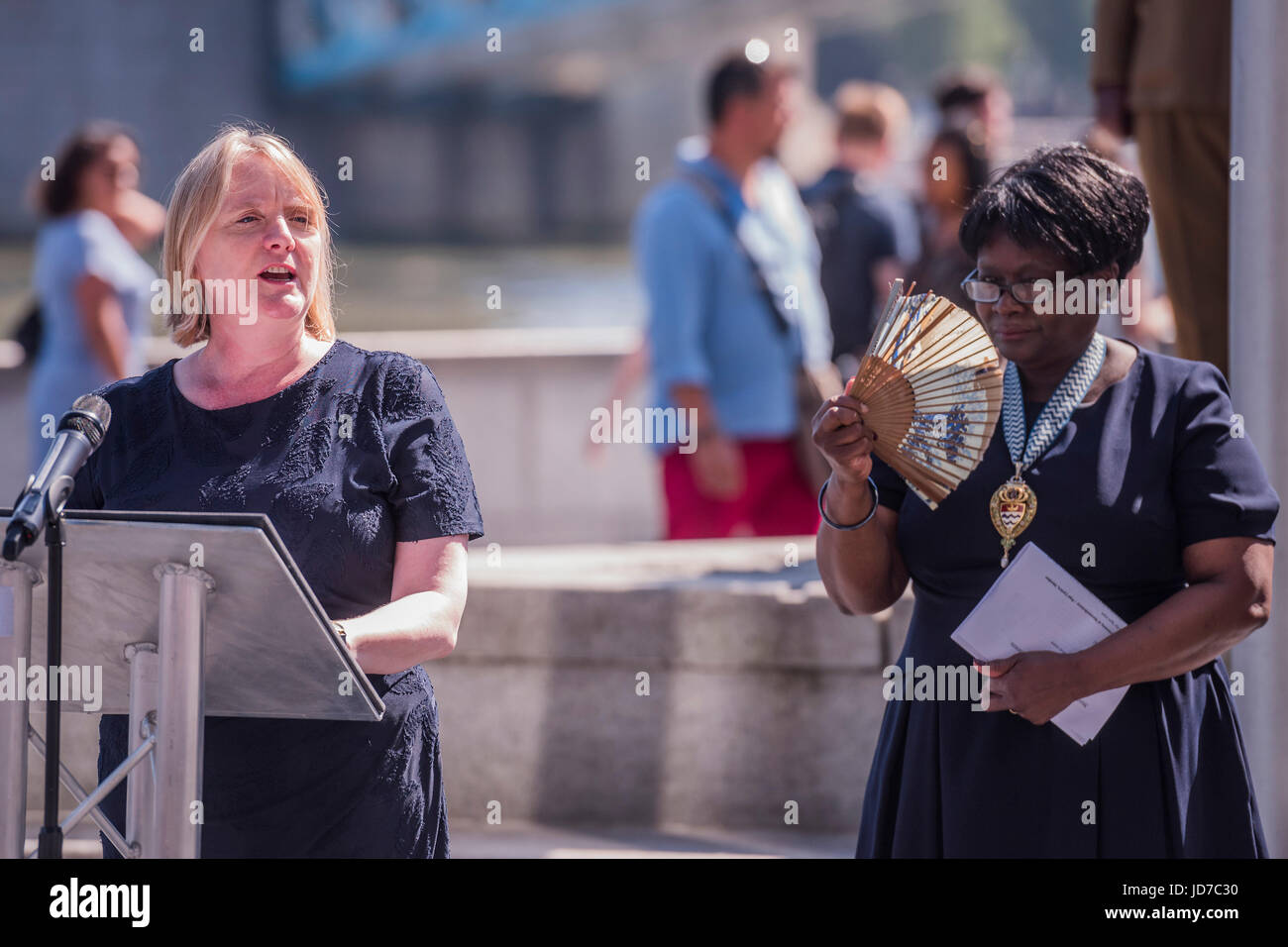 London, UK. 19th June, 2017. The Deputy Mayor Joanne Mcartney with the Chair of teh London Assmbley in the heat - Stock Image