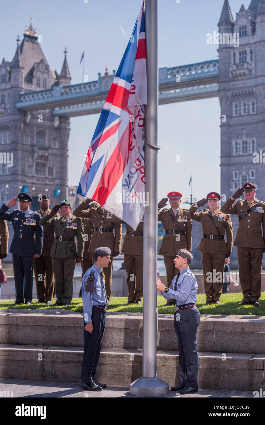 London, UK. 19th June, 2017. The flag is raised by RAF cadets - On behalf of the Mayor Sadiq Khan (who was called - Stock Image