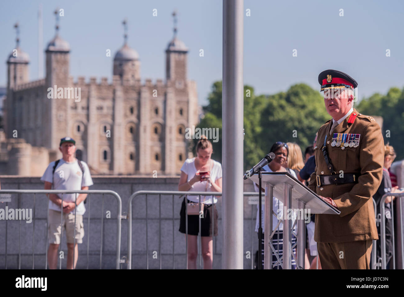 London, UK. 19th June, 2017. Brigadier Michael McGovern - On behalf of the Mayor Sadiq Khan (who was called to a - Stock Image