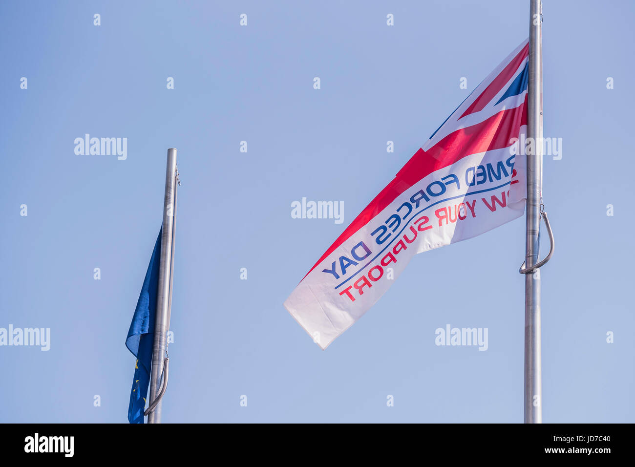 London, UK. 19th June, 2017. The flag - On befalf of the Mayor Sadiq Khan (who was called to a security meeting), - Stock Image