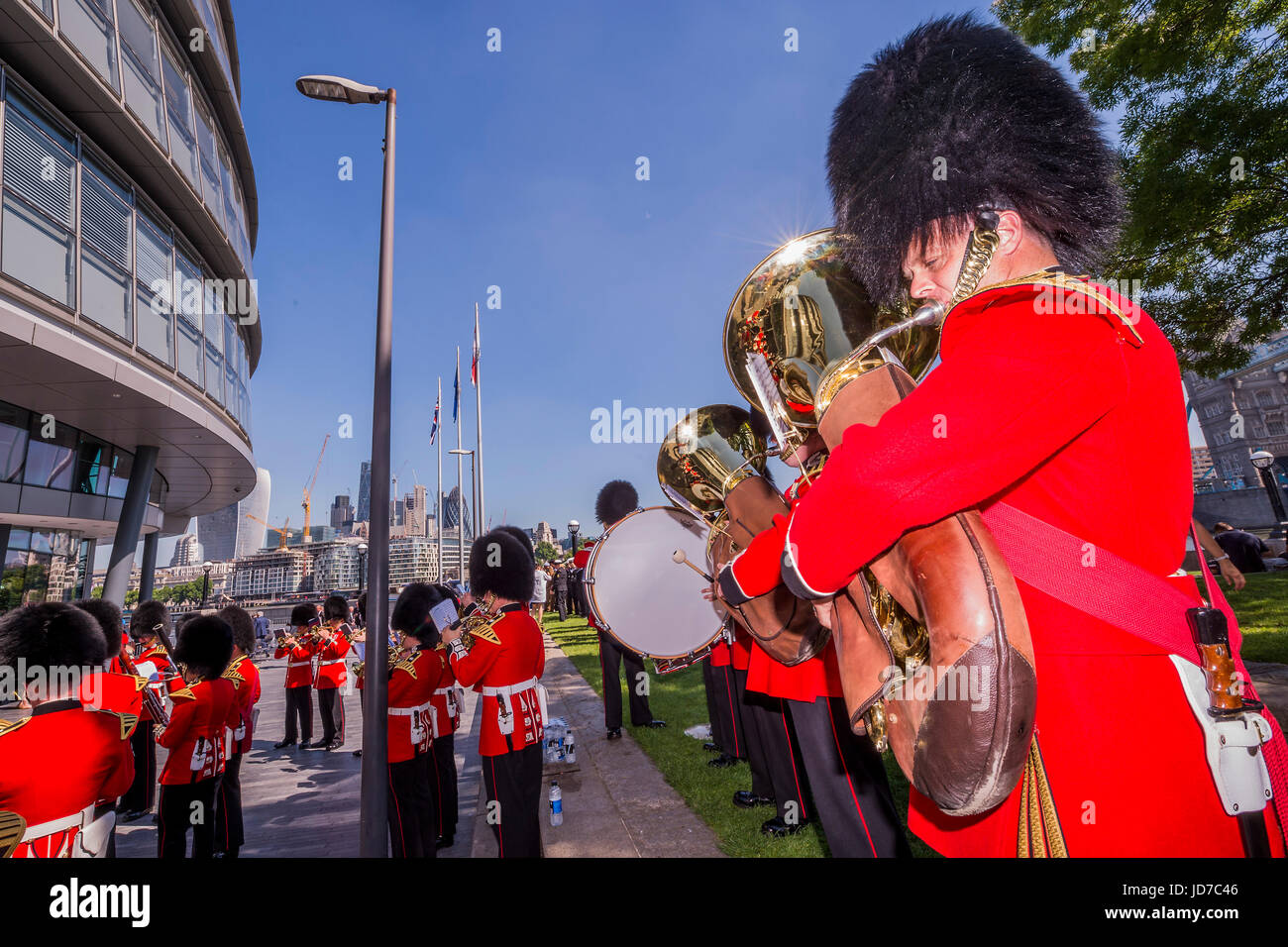 London, UK. 19th June, 2017. The Band of the Scots Guards - On behalf of the Mayor Sadiq Khan (who was called to - Stock Image
