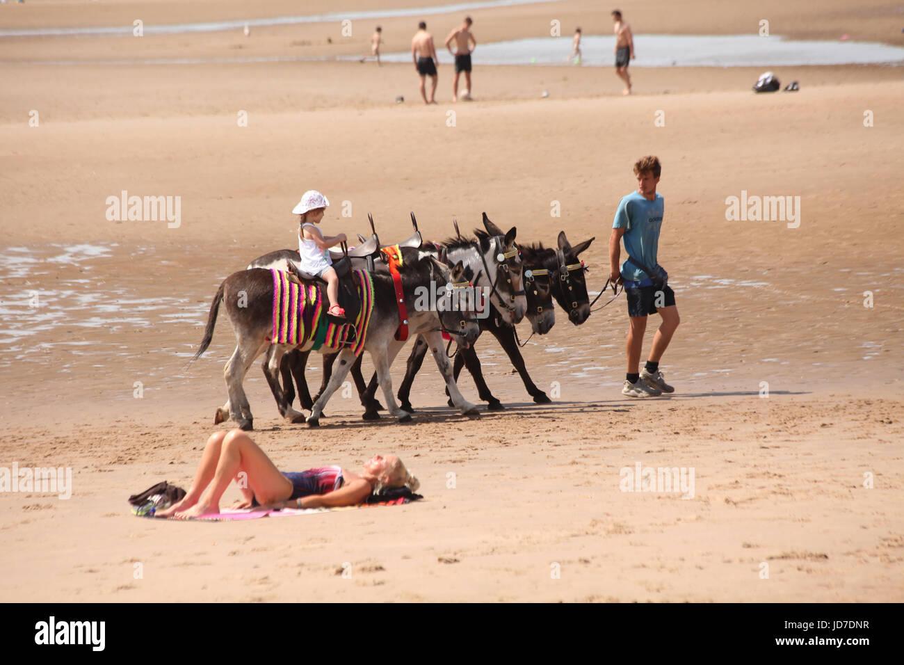Blackpool, Lancashire, UK. 19th June, 2017. Blackpool Pleasure Beach, UK. Sunworshippers & familes enjoying - Stock Image