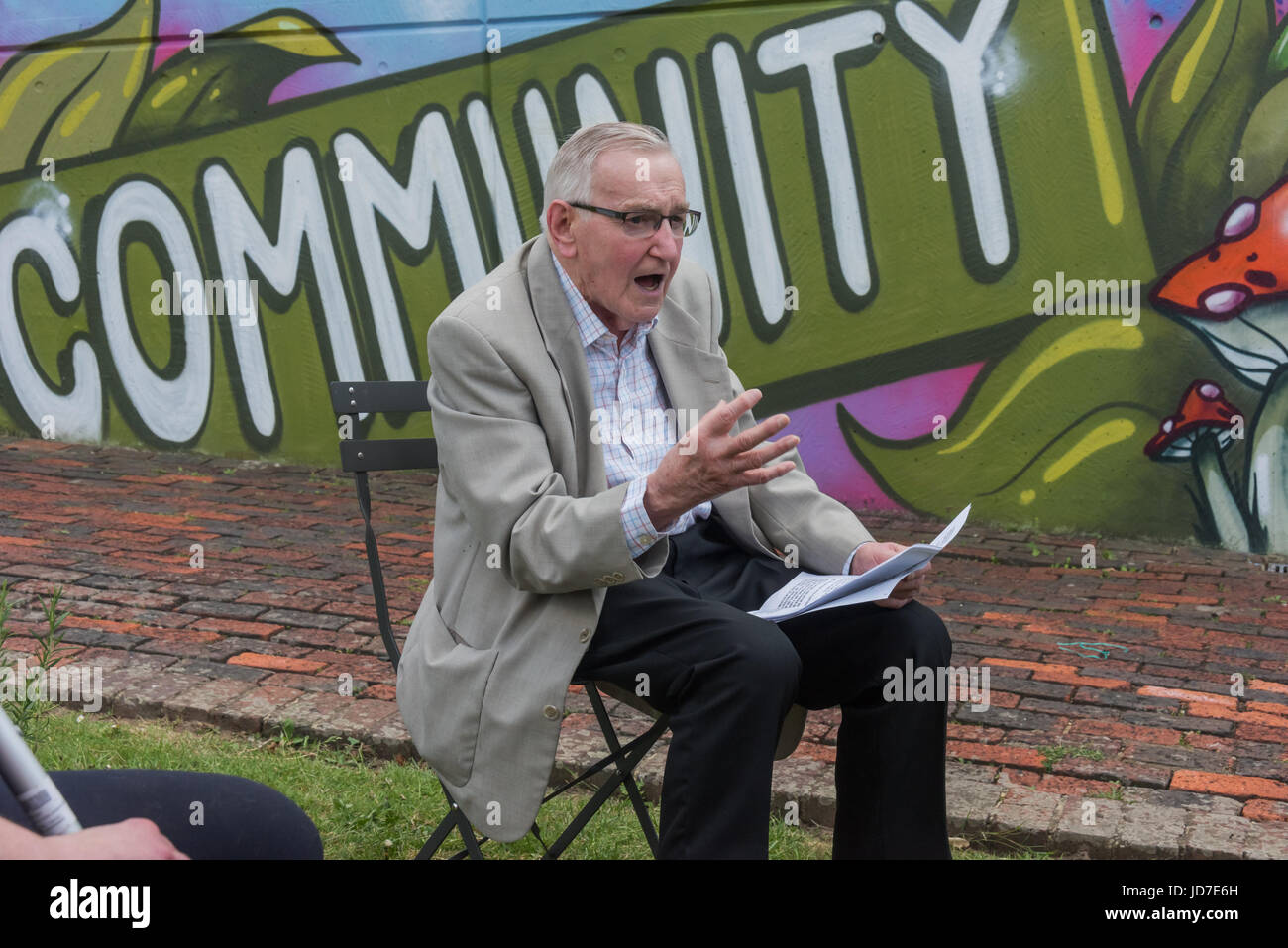 June 18, 2017 - London, UK - London, UK. 18th June 2017. Ted Knight, former leader of Lambeth Council, spoke in - Stock Image