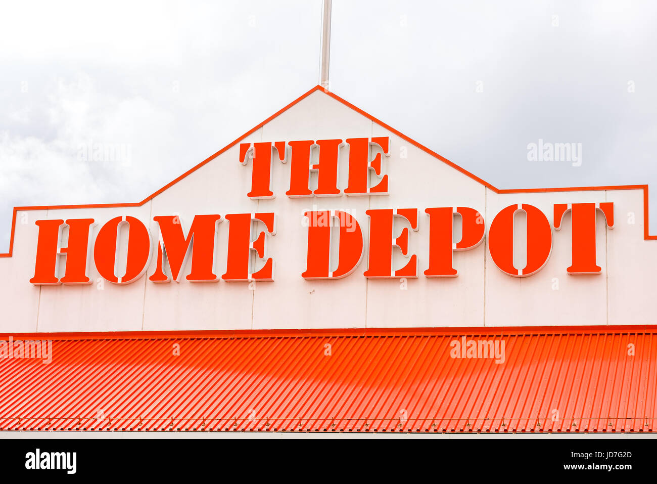 The Home Depot Brand Logo On Building Exterior Stock Photo