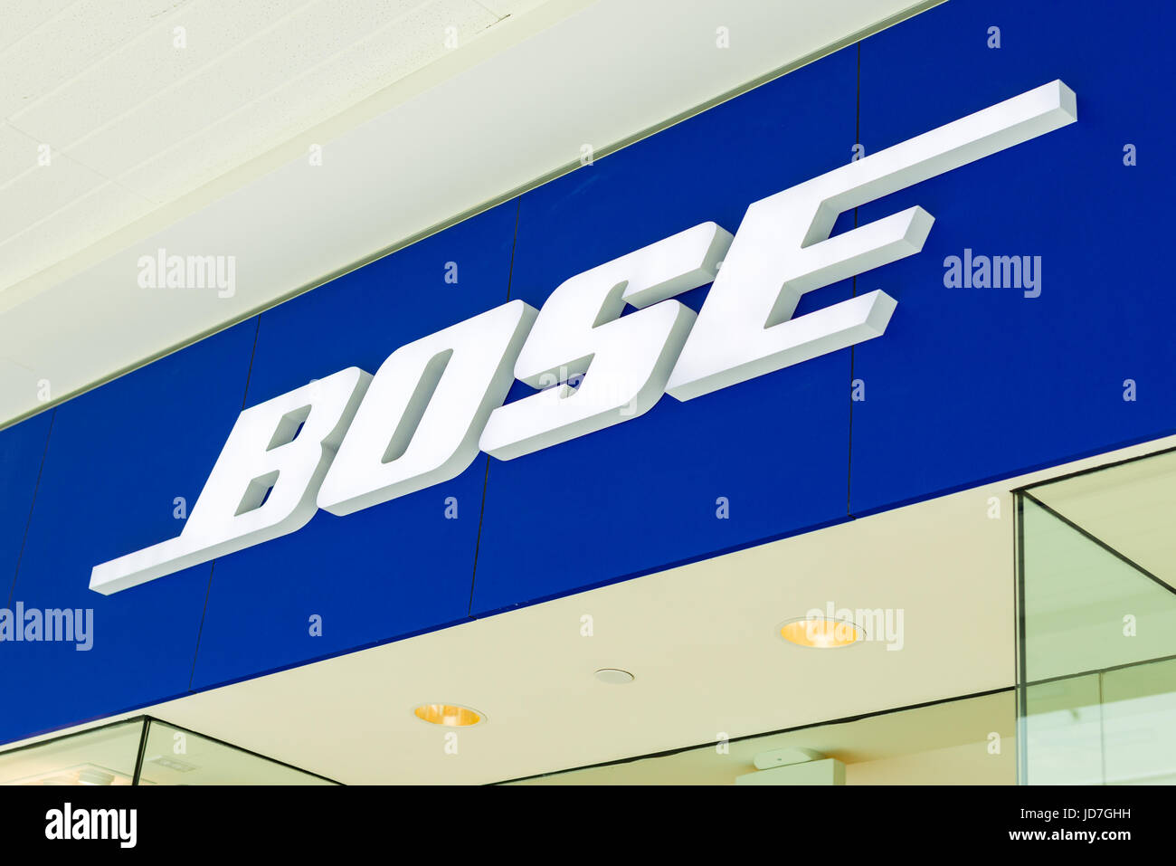 BOSE Brand Logo On Building Exterior - Stock Image