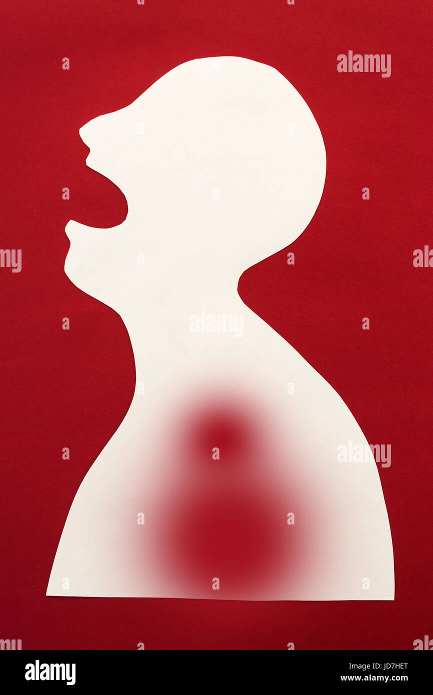 concept of sickness and pain on silhouette - abstract patient with disease of upper respiratory tract, inflammation, - Stock Image