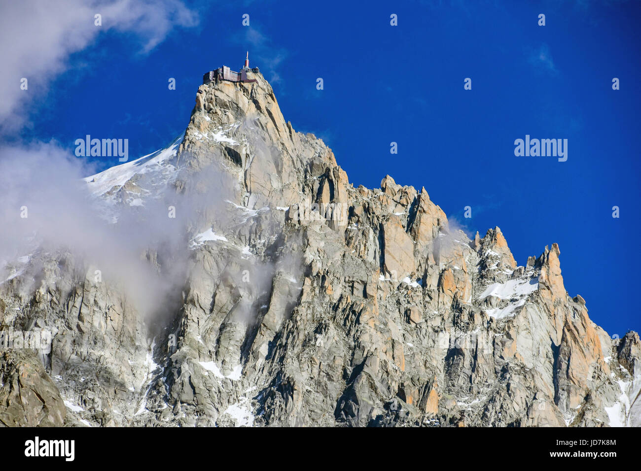 Aiguille du Midi cable-car station in the clouds, Chamonix, France Stock Photo