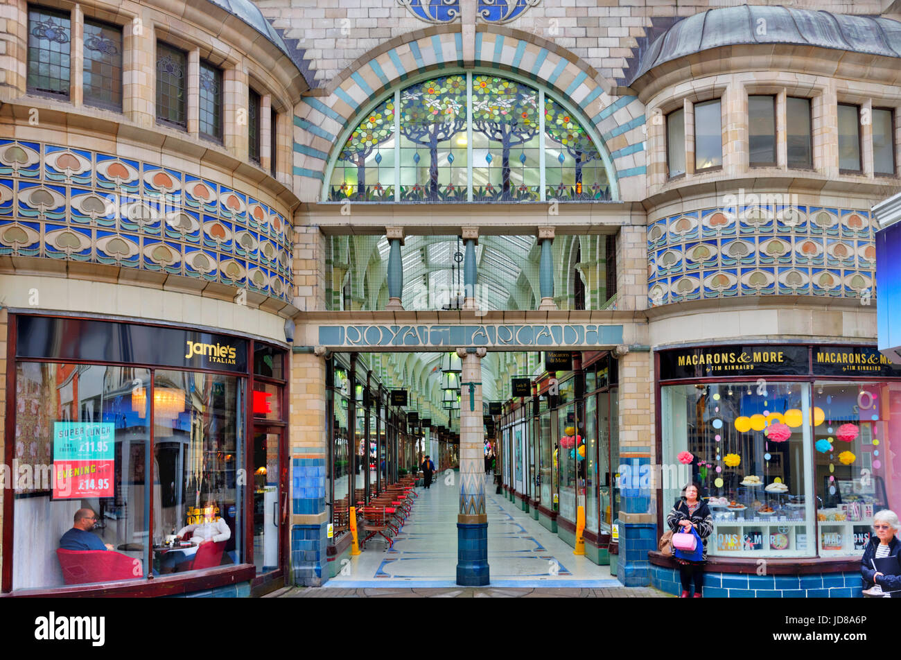 Royal Arcade shopping area in Norwich, England - Stock Image