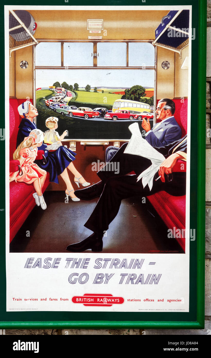 Old fifties style British Railways poster promoting train travel with the slogan Ease the Strain - Go By Train on - Stock Image
