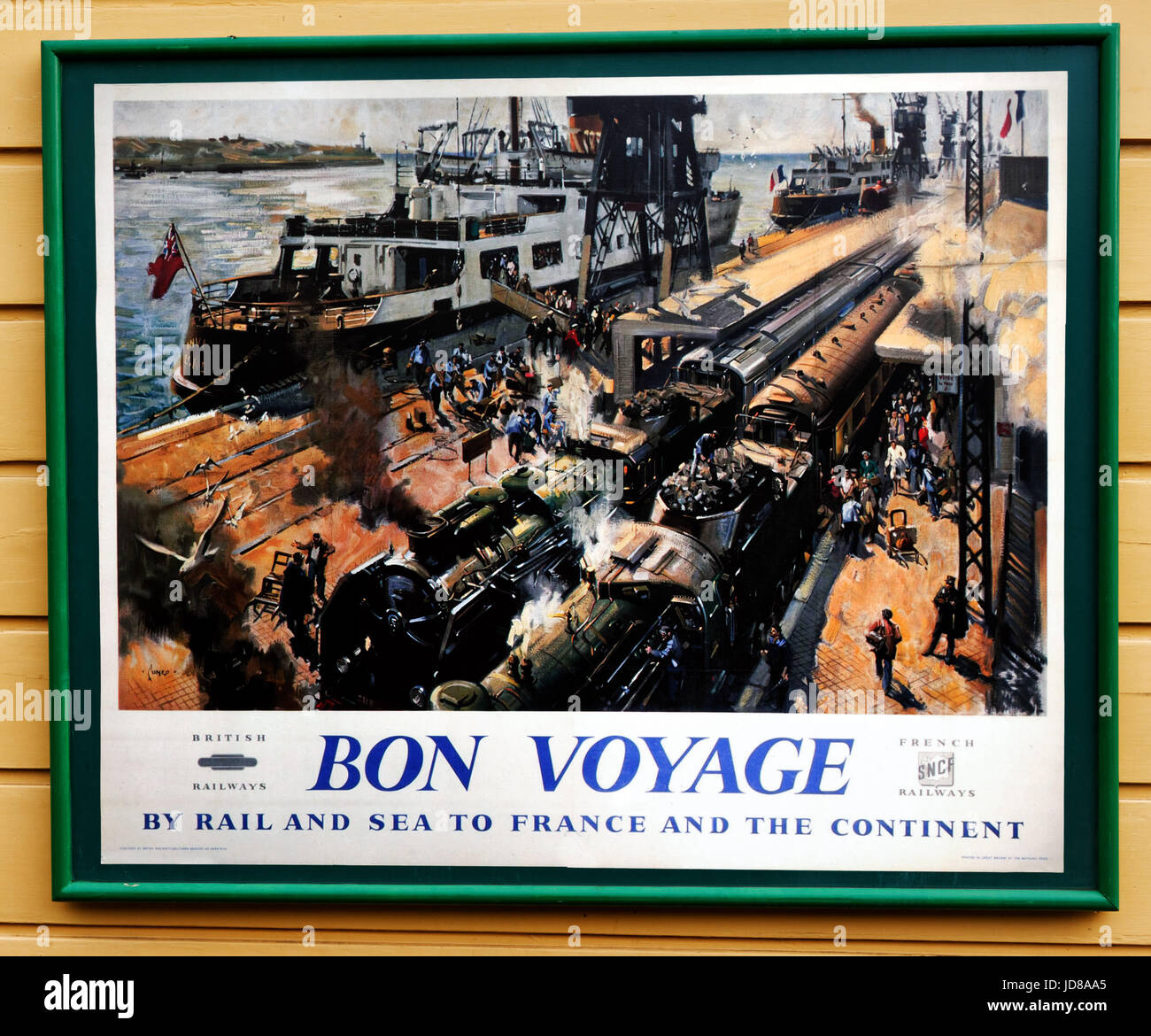 Old fifties style British Railways poster for going to Europe by train on the Swanage steam railway - Stock Image