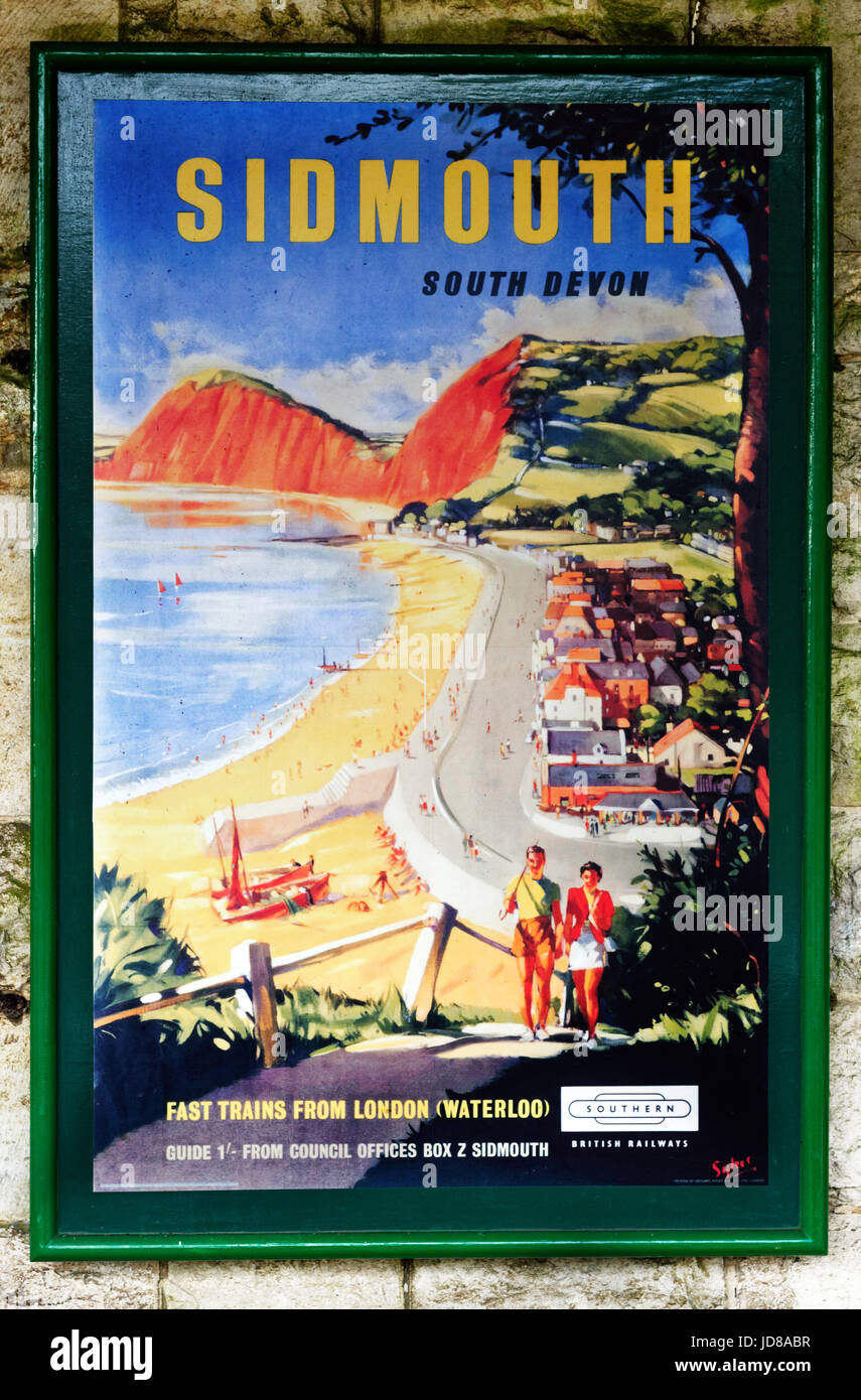 Old fifties style British Railways poster for Sidmouth on the Swanage steam railway - Stock Image