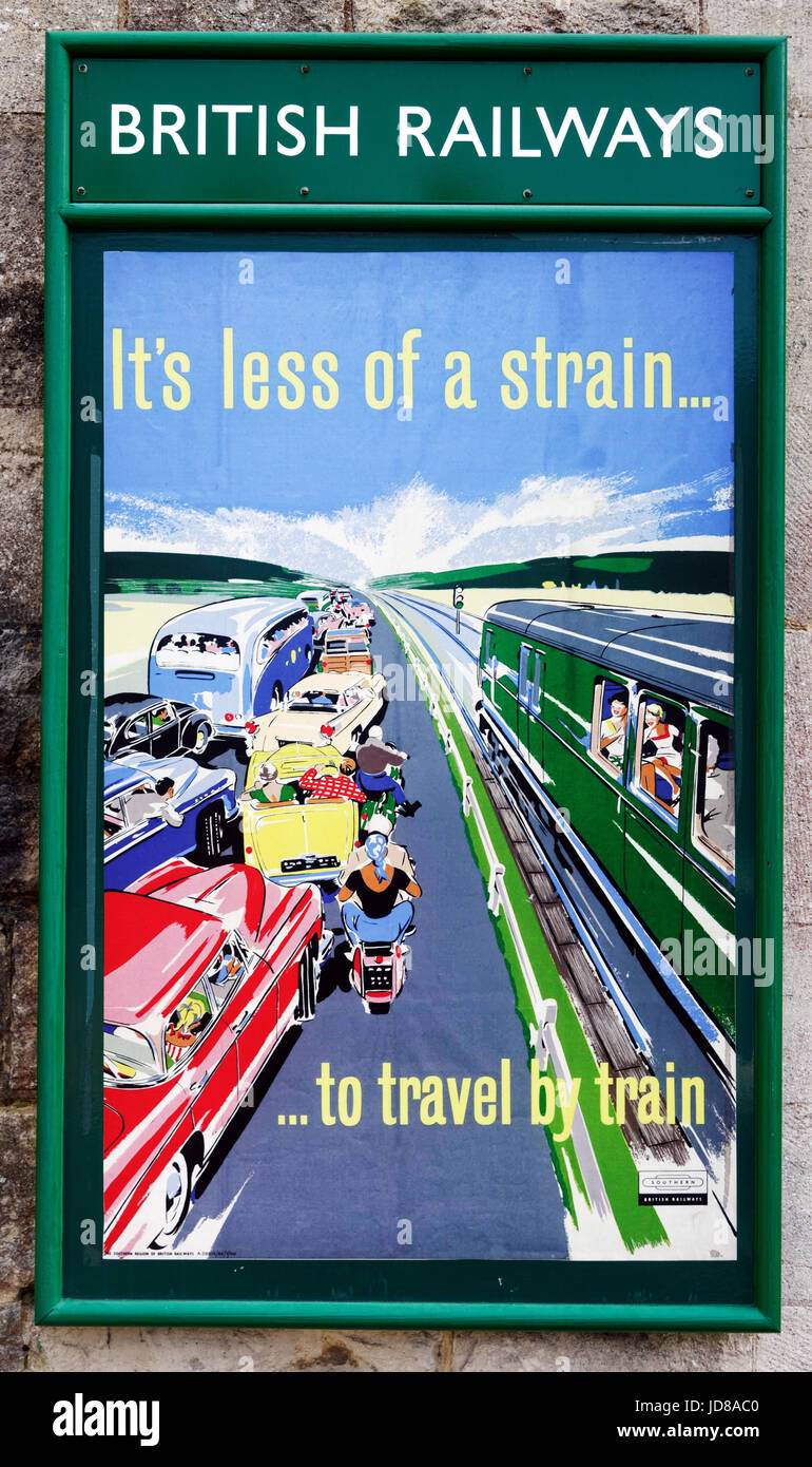 Old fifties style British Railways poster promoting train travel on the Swanage steam railway - Stock Image