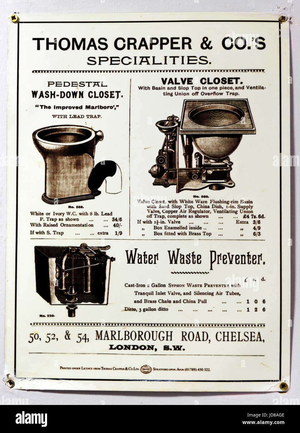 A reproduction of an old advertisement for the original flush toilet by Thomas Crapper - Stock Image