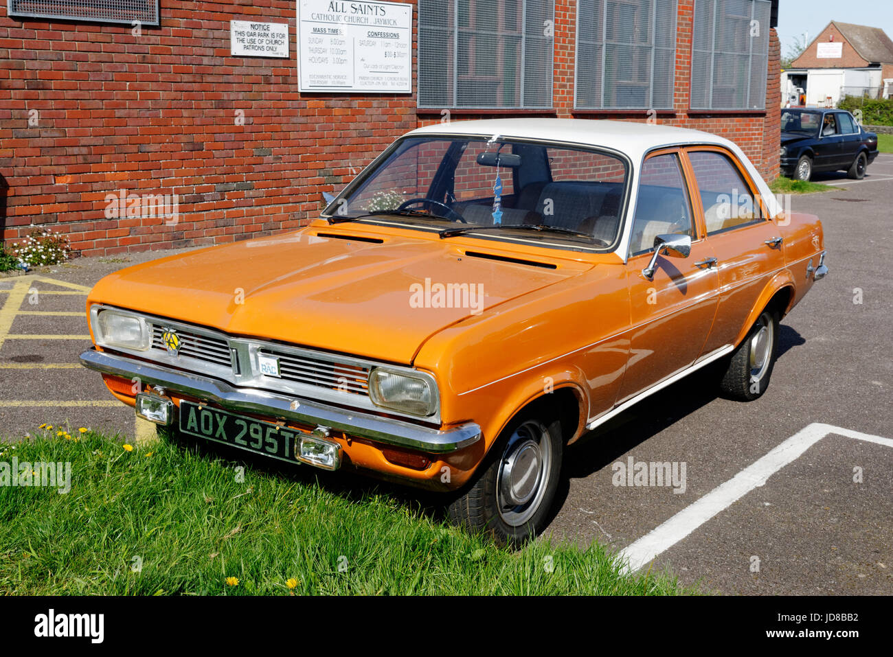 A Vauxhall Viva classic car in a car park - Stock Image