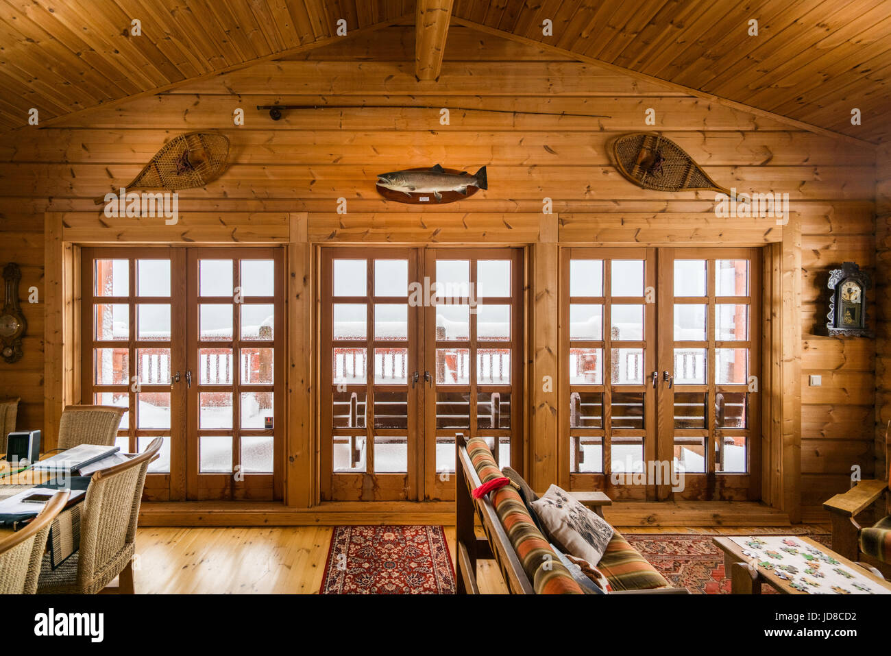 Wood Clad Lliving Room And Doors In Log Cabin, Iceland, Europe. Iceland  Nature 2017 Winter Cold
