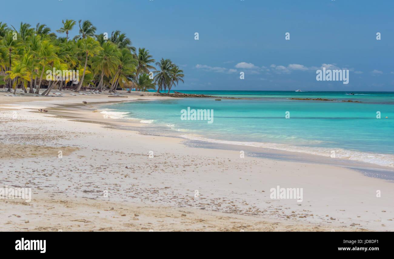 Beach on the Caribbean island of Saona in Dominican Republic. - Stock Image
