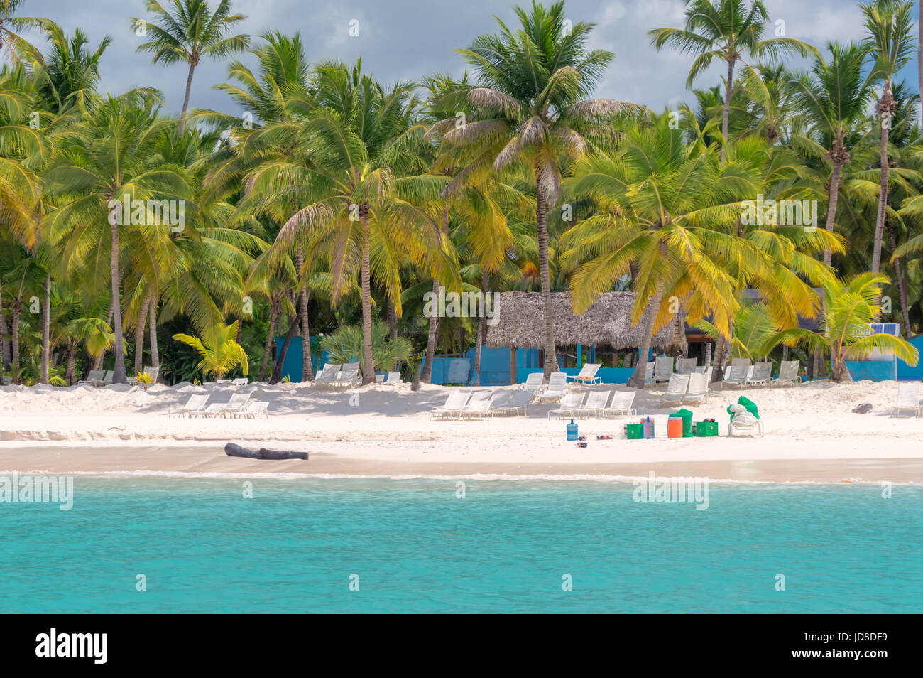 Beach on the Caribbean island of Saona in Dominican Republic. - Stock Image